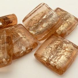 Perle verre murrano venise carré 25mm beige x1