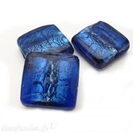 Perle verre murrano venise carré 25mm bleu x1