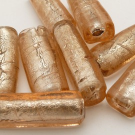 Perle verre murrano venise tube 40mm beige x1