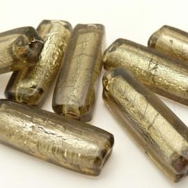 Perle verre murrano venise tube 40mm gris x1