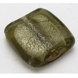 Perle verre murrano venise carré 25mm gris x1