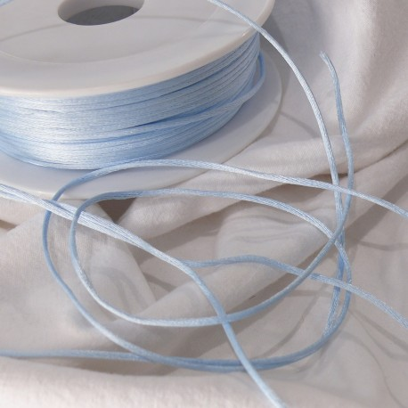 Ruban satin cordon queue de souris bleu ciel 1mm x 3m