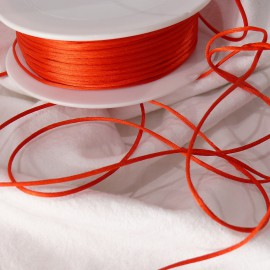 Ruban satin cordon queue de souris rouge 1mm x 3m
