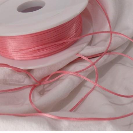 Ruban satin cordon queue de souris rose 1mm x 3m
