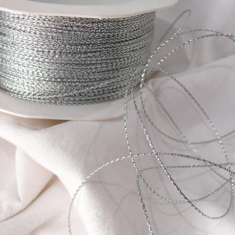 Ruban cordon argent gloss 1mm x 5m