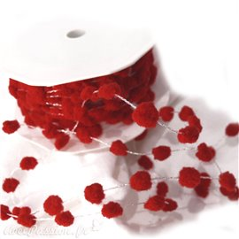 Ruban cordon pompon rouge 8mmx5m spring dots