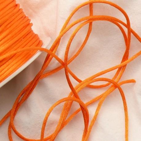 Ruban satin cordon queue de rat orange 2mm x 4m