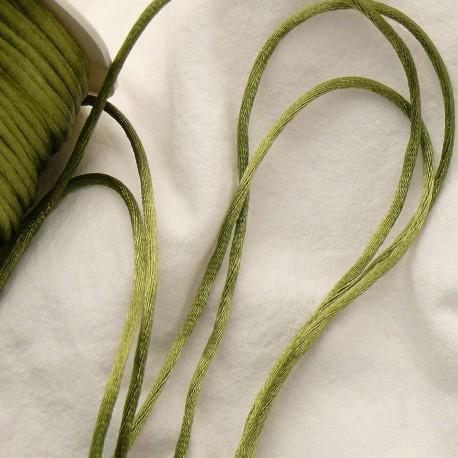 Ruban satin cordon queue de rat vert olive 2mm x 4m