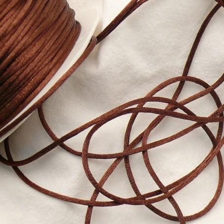 Ruban satin cordon queue de rat marron 2mm x 4m