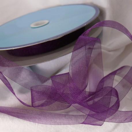 Ruban organza voile mousseline violet 1cm x 5m