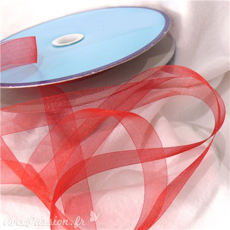 Ruban organza voile mousseline rouge 1cm x 5m