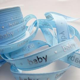 Ruban bébé tissu bleu texte argent baby 1cm x 5m *