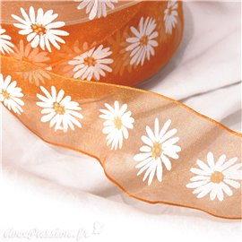 Ruban organza marguerite orange 4cmx4m