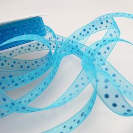 Ruban organza pois bleu 1 cm x 4 m