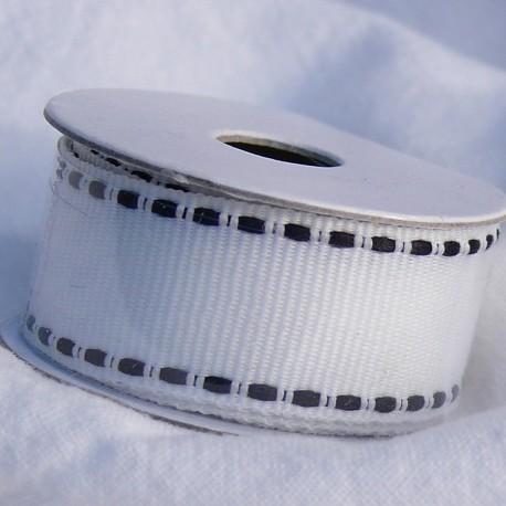 Ruban tissu coton blanc tiret noir 1.6cm le rouleau de 1m