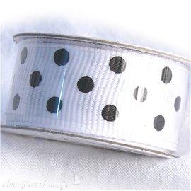 Ruban tissu coton blanc et pois noir 1.6cm le rouleau de 1m