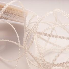 Ruban tissu ivoire 3mm x 5m frisette