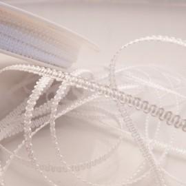 Ruban tissu blanc 3mm x 5m frisette