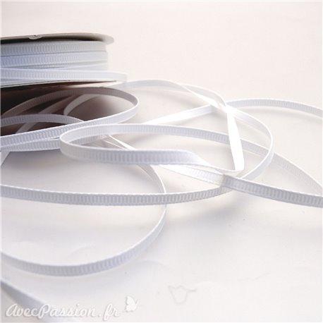 Ruban tissu coton blanc 3mm x 4m