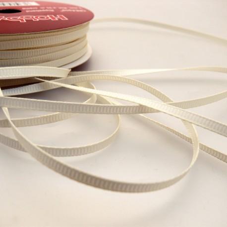Ruban tissu coton crème 3mm x 4m