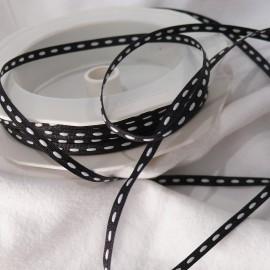 Ruban tissu trait blanc sur noir 4mmx5m dashy woven