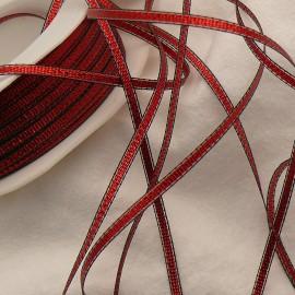 Ruban tissu rouge liseret noir 3mm x 3m tiffany