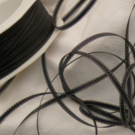 Ruban tissu noir liseret noir 3mm x 3m tiffany