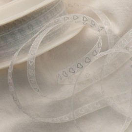 Ruban organza coeur blanc 7mmx10m Rouleau