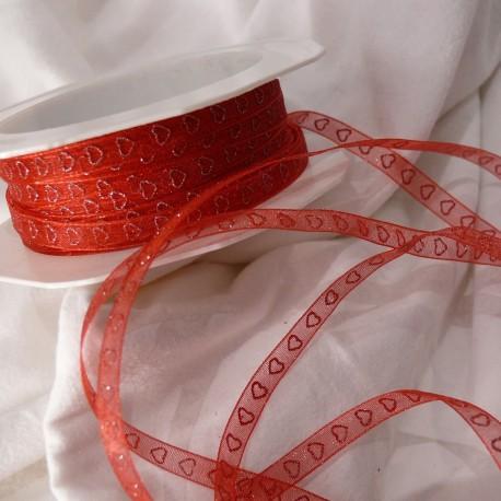 Ruban organza coeur rouge 7mmx10m Rouleau