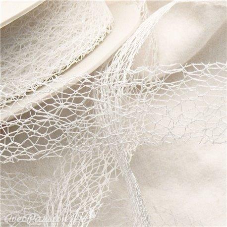 Ruban tissu blanc 3cm x 5m crispy
