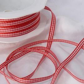 Ruban tissu coton vichy rouge 5mmx20m Rouleau