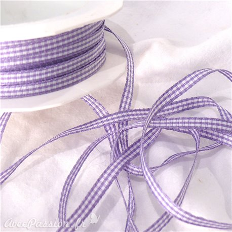 Ruban tissu coton vichy lilas 5mm x 5m