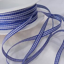 Ruban tissu coton vichy bleu marine 5mm x 5m