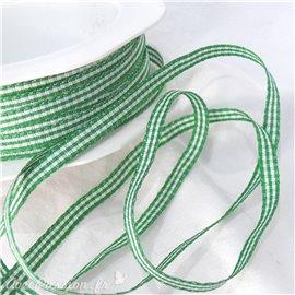 Ruban tissu coton vichy vert 5mm x 5m