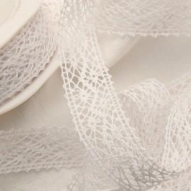 Ruban dentelle coton blanc 2.2cm x 5m
