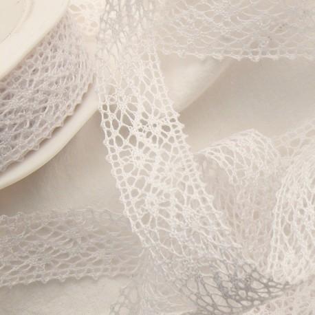 Ruban dentelle coton blanc 2.2cmx5m Rouleau
