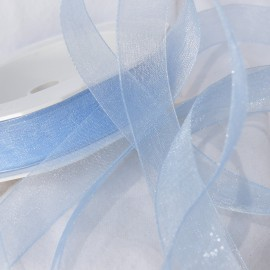 Ruban organza uni bleu ciel 1.5cm x 4m