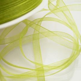 Ruban organza uni vert anis 7mm x 5m