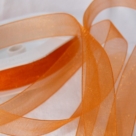 Ruban organza uni orange 1.5cm x 4m