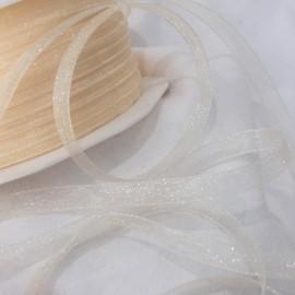 Ruban organza uni ivoire 7mm x 5m