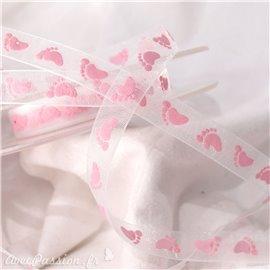 Ruban bébé organza blanc pieds de bébé rose 1cm x 5m