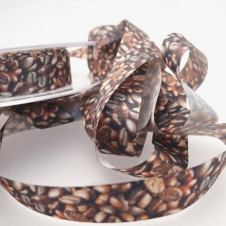 Ruban tissu grains de café 1.5cm x 2m