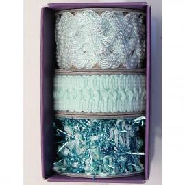 Ruban tissu assortiment 3 vert turquoise de 1m