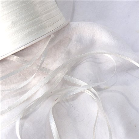 Ruban satin uni blanc 3mm x 4m