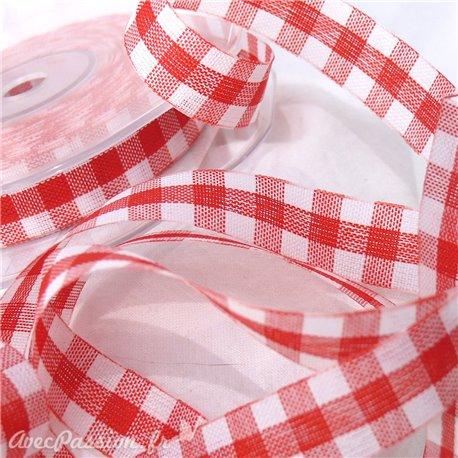 Ruban tissu coton vichy rouge 1.5cm x 3m