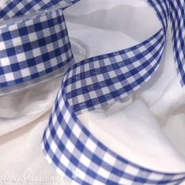 Ruban tissu coton vichy bleu marine 3.8cm x 5 m