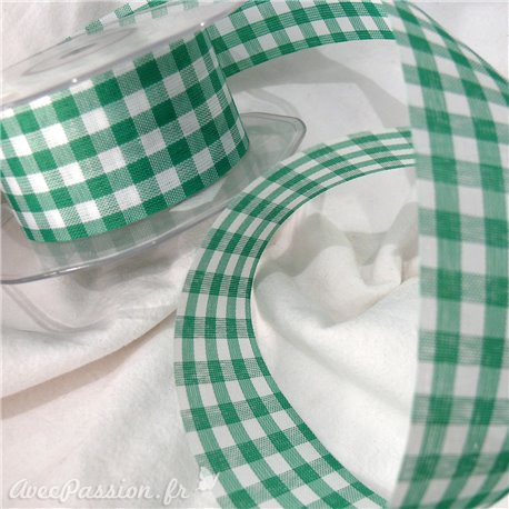 Ruban tissu coton vichy vert 3.8cm x 4m