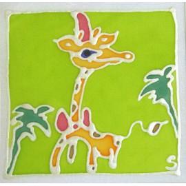 Carte postale soie girafe