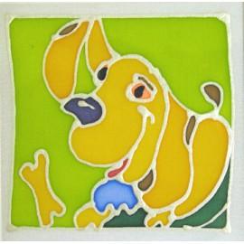 Carte postale soie chien
