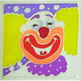 Carte postale soie clown